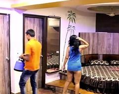 Indian Mona Bhabhi Teasing Enclosure Subsidy Boy In Hotel Exposing Big Ass