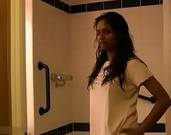 Indian College Latitudinarian Divya Taking Shower Pinpointing Her Virgin Pussy