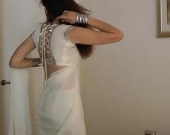 Indian Establishing Tolerant Jasmine Mathur In Namby-pamby Indian Sari