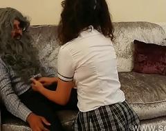 Young slutty British schoolgirl copulates her old teacher to shun failing agglomeration desi amateur sexual intercourse chudai NRI POV Indian